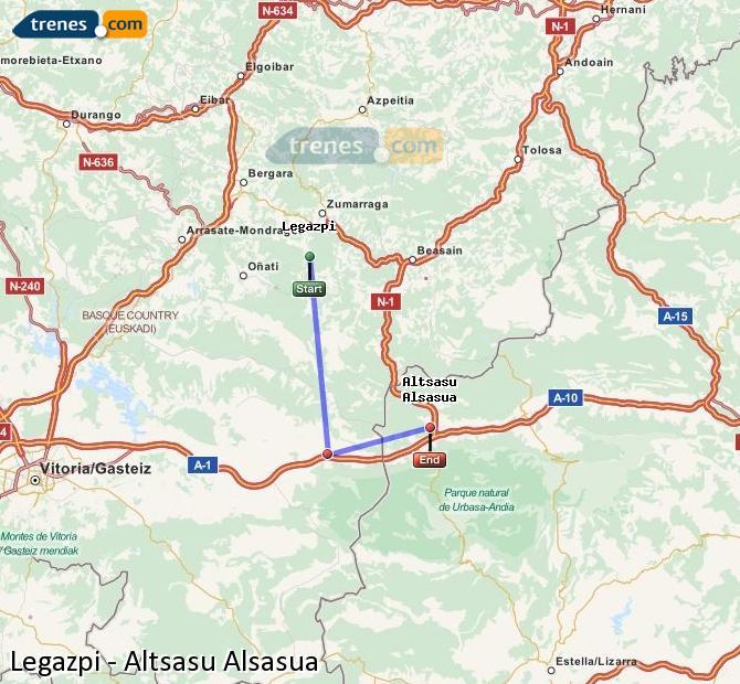 Agrandir la carte Trains Legazpi Altsasu Alsasua