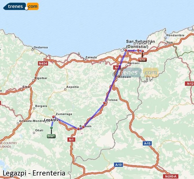 Enlarge map Trains Legazpi to Errenteria