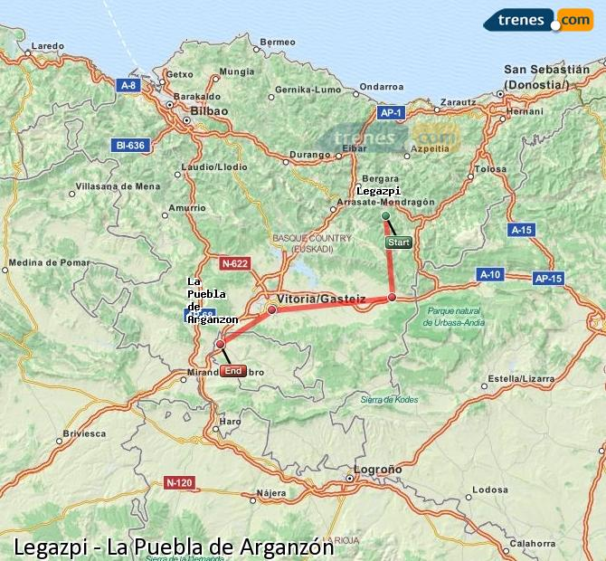Karte vergrößern Züge Legazpi La Puebla de Arganzón