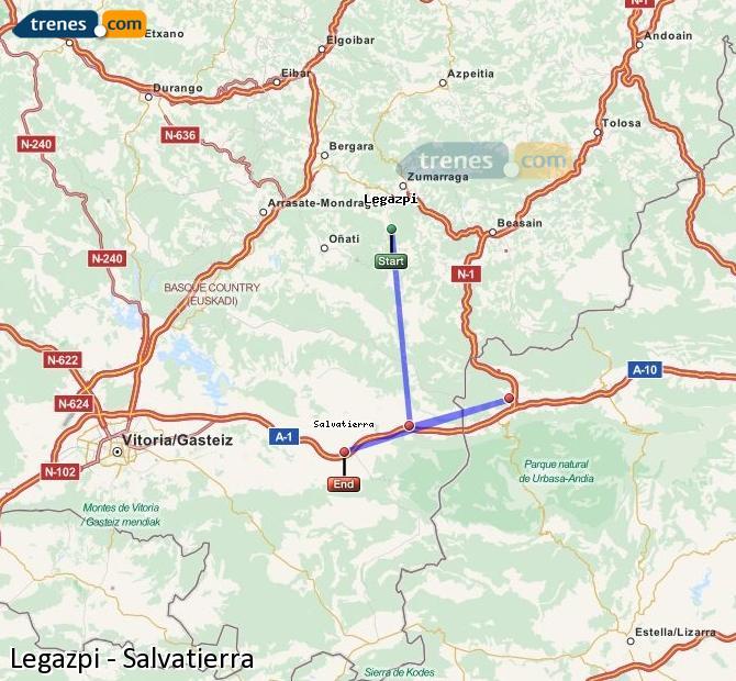 Karte vergrößern Züge Legazpi Salvatierra