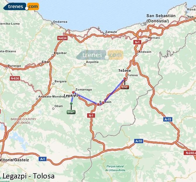 Enlarge map Trains Legazpi to Tolosa
