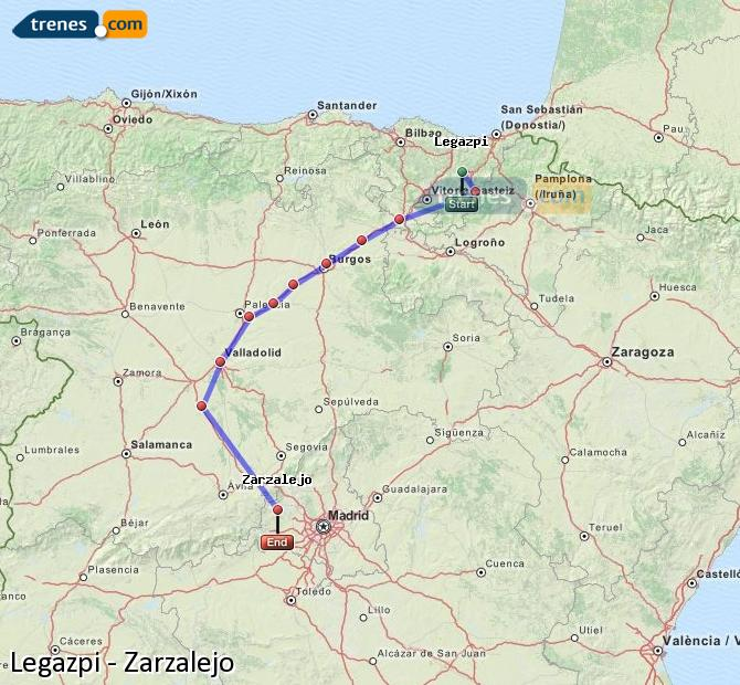 Ingrandisci la mappa Treni Legazpi Zarzalejo