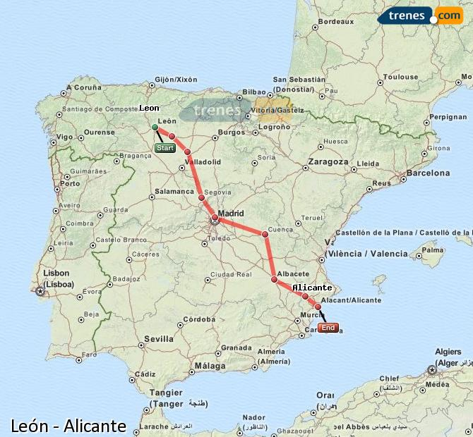 Enlarge map Trains Lion to Alicante
