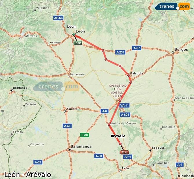 Ingrandisci la mappa Treni León Arévalo