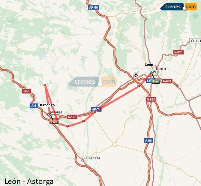 Karte vergrößern Züge León Astorga