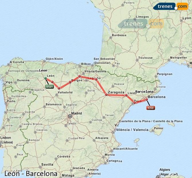 Ampliar mapa Trenes León Barcelona
