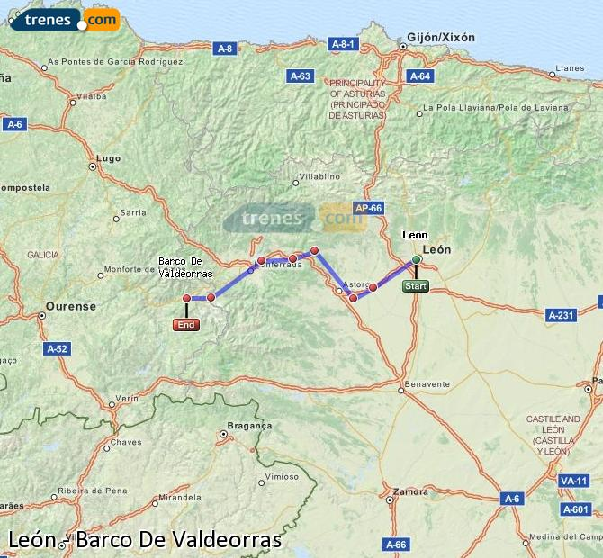 Enlarge map Trains Lion to Barco De Valdeorras