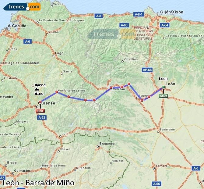 Ampliar mapa Trenes León Barra de Miño