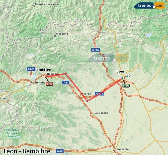 Karte vergrößern Züge León Bembibre