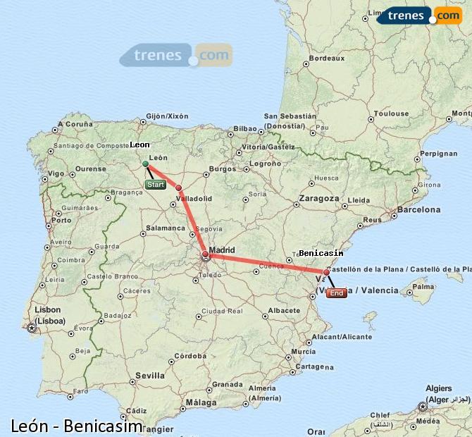 Ampliar mapa Trenes León Benicasim