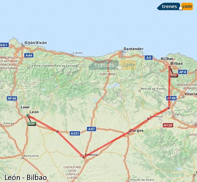 Karte vergrößern Züge León Bilbao