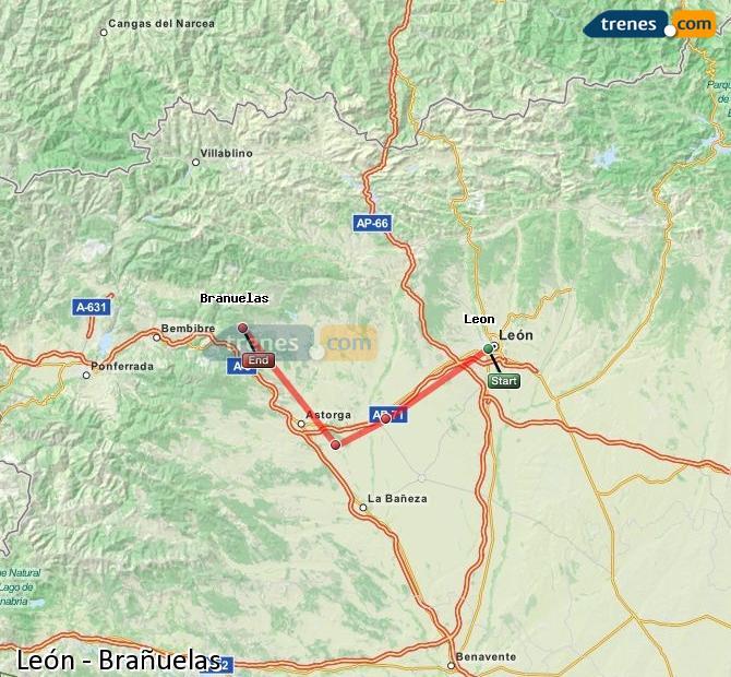 Ingrandisci la mappa Treni León Brañuelas