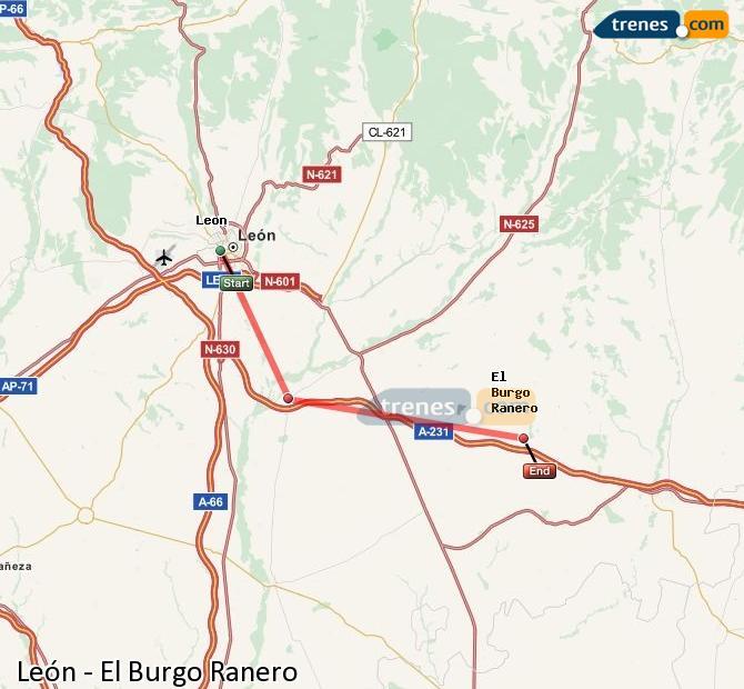 Ingrandisci la mappa Treni León El Burgo Ranero