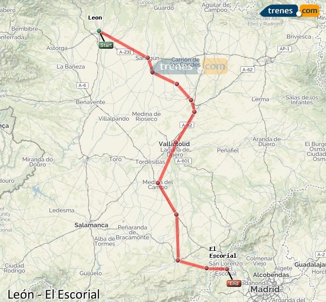 Ingrandisci la mappa Treni León El Escorial