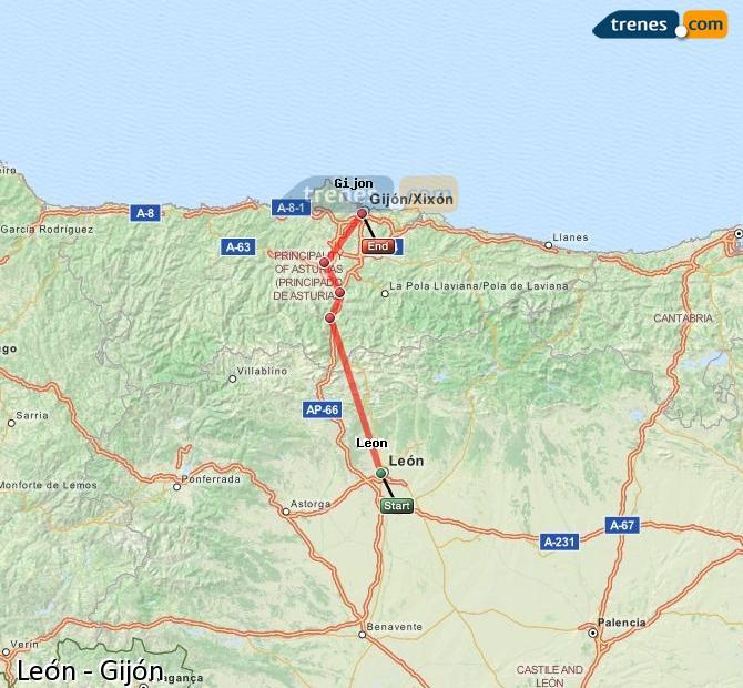 Ingrandisci la mappa Treni León Gijón
