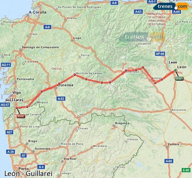 Karte vergrößern Züge León Guillarei