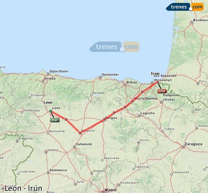 Agrandir la carte Trains León Irún