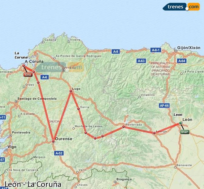 Estacion Tren Leon Mapa.Trenes Leon La Coruna Baratos Billetes Desde 14 55 Trenes Com