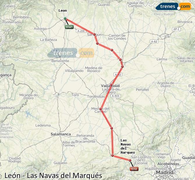 Ingrandisci la mappa Treni León Las Navas del Marqués