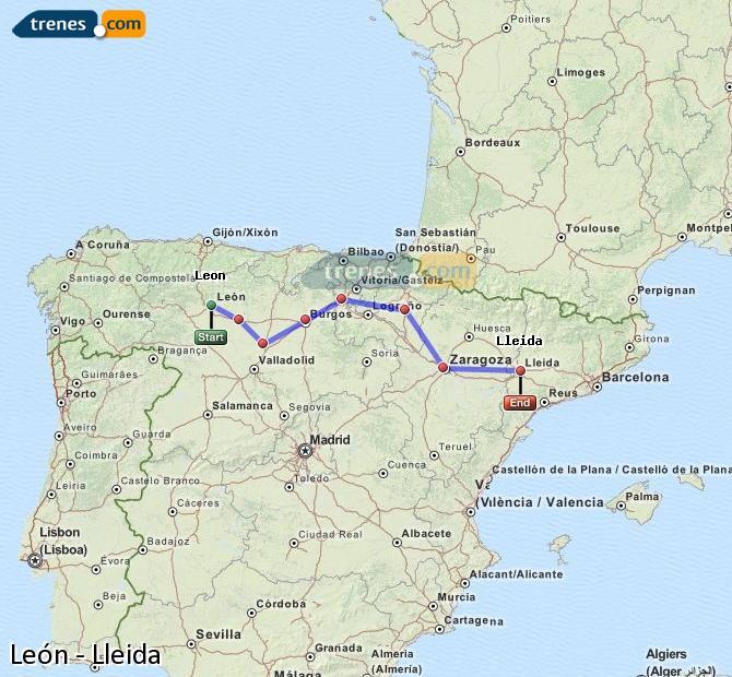 Agrandir la carte Trains León Lleida