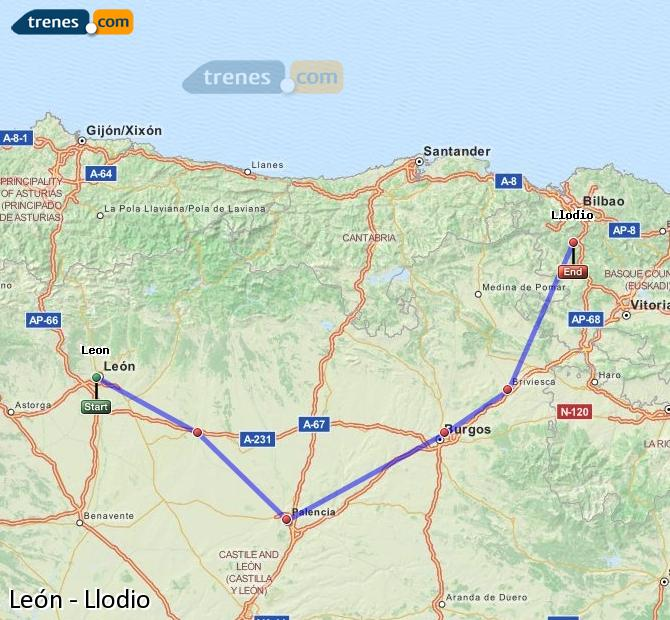 Enlarge map Trains Lion to Llodio