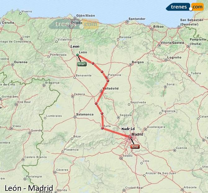Ampliar mapa Trenes León Madrid