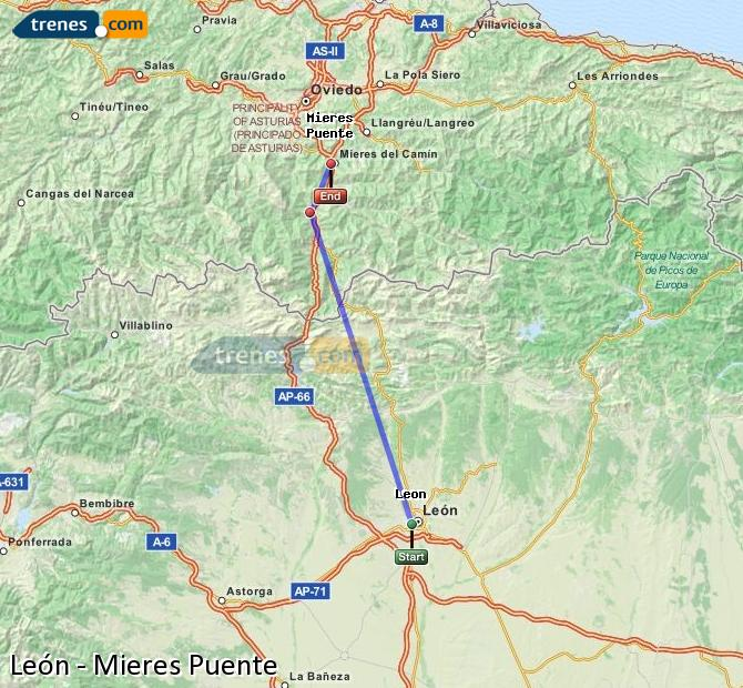 Enlarge map Trains Lion to Mieres Puente