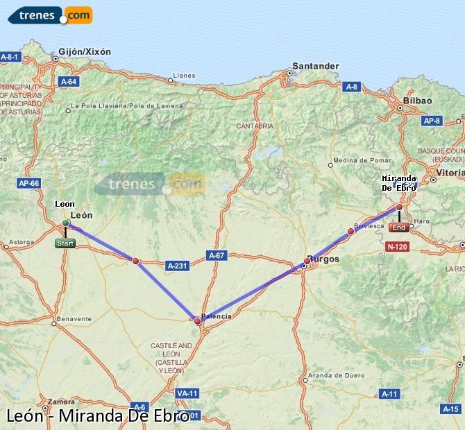 Ampliar mapa Comboios León Miranda De Ebro