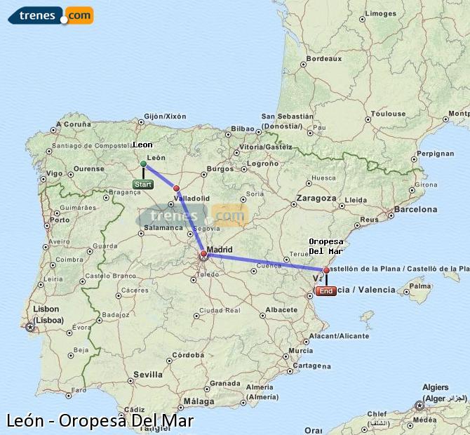 Karte vergrößern Züge León Oropesa Del Mar