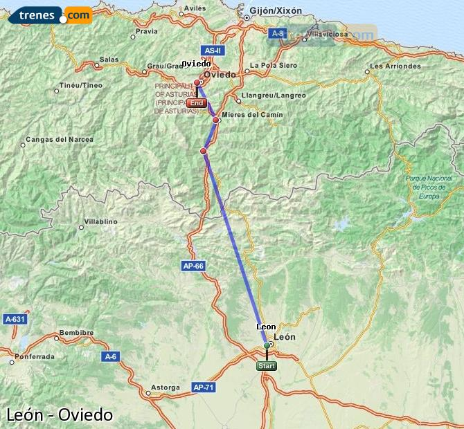 Ingrandisci la mappa Treni León Oviedo