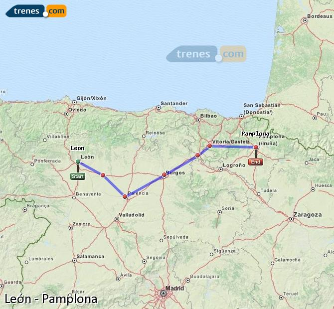 Karte vergrößern Züge León Pamplona