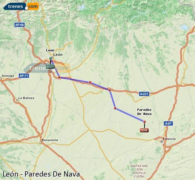 Ampliar mapa Comboios León Paredes De Nava