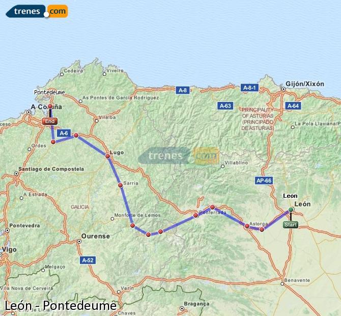 Enlarge map Trains Lion to Pontedeume