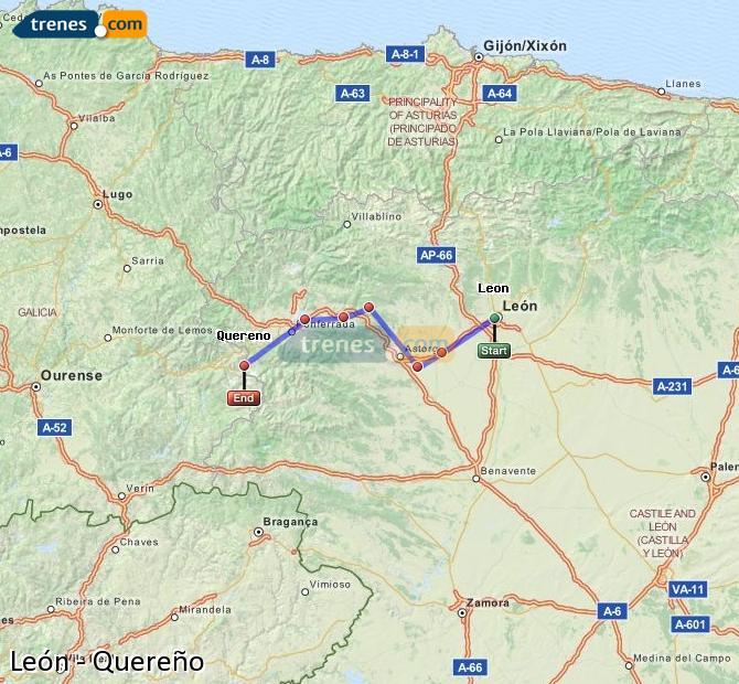 Karte vergrößern Züge León Quereño