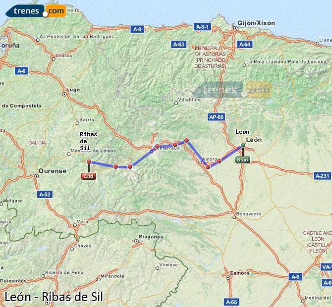 Karte vergrößern Züge León Ribas de Sil