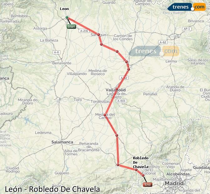 Ampliar mapa Comboios León Robledo De Chavela