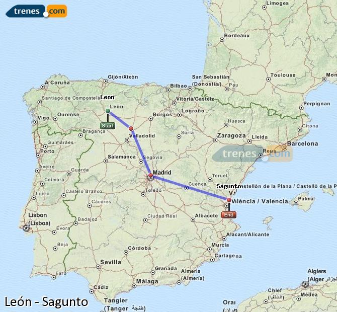 Ingrandisci la mappa Treni León Sagunto