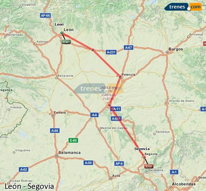 Enlarge map Trains Lion to Segovia