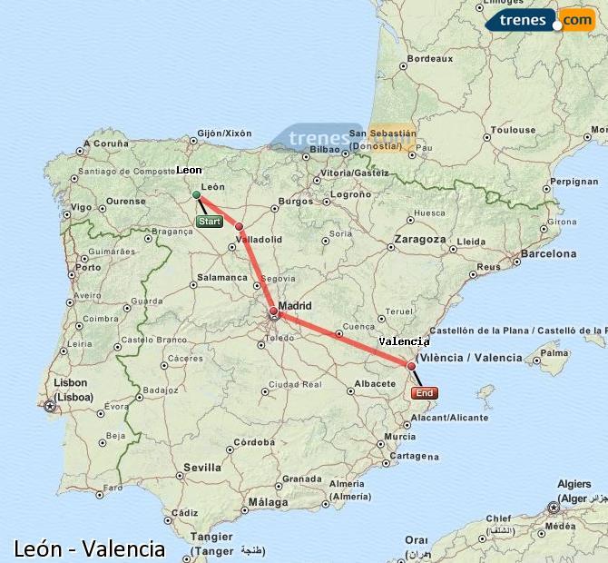 Ingrandisci la mappa Treni León Valencia