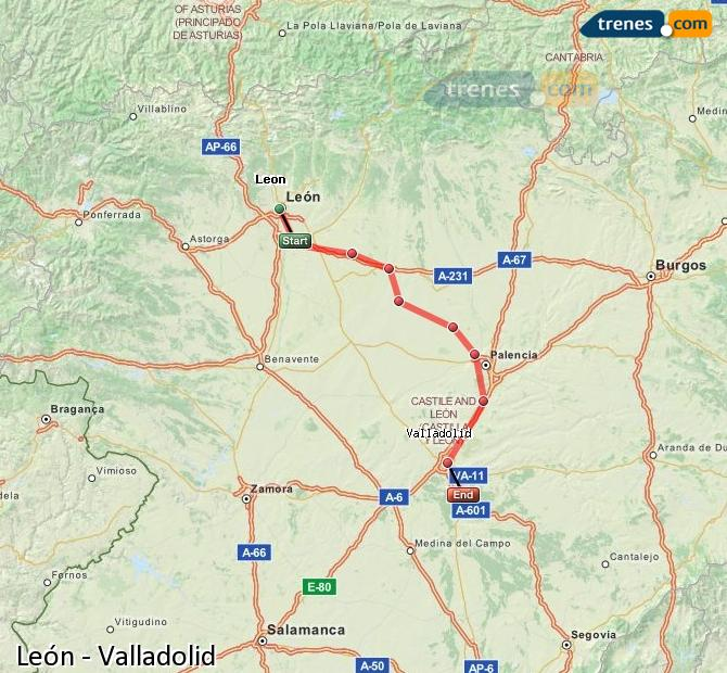 Enlarge map Trains Lion to Valladolid