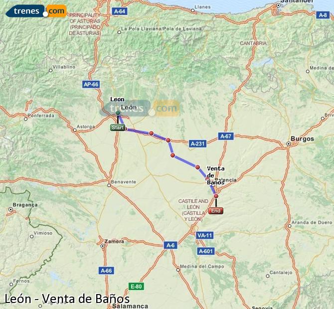 Ampliar mapa Trenes León Venta de Baños