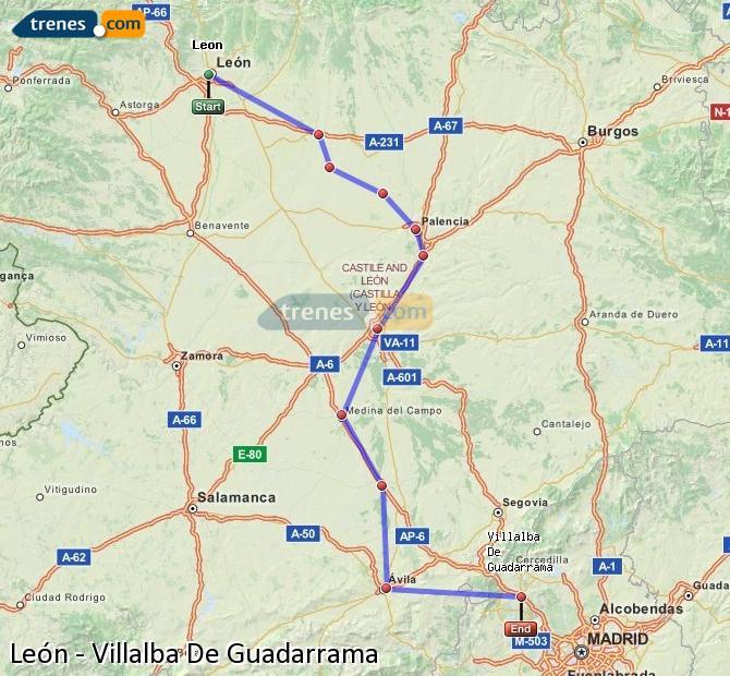 Ingrandisci la mappa Treni León Villalba De Guadarrama