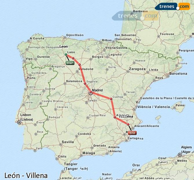 Enlarge map Trains Lion to Villena