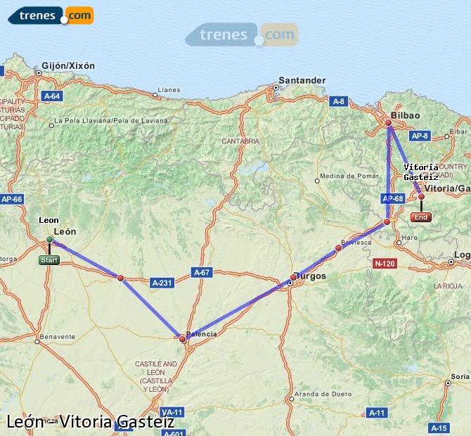 Ingrandisci la mappa Treni León Vitoria Gasteiz