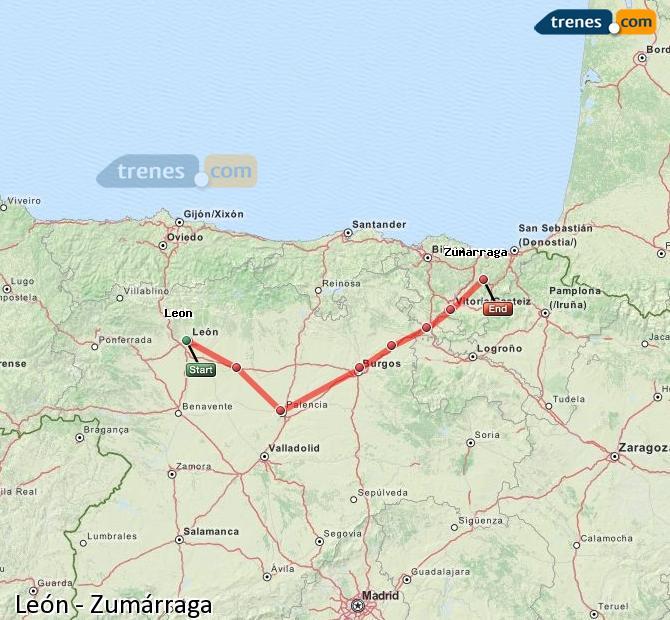 Karte vergrößern Züge León Zumárraga