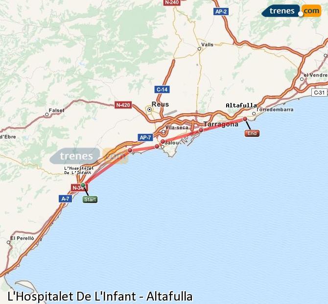 Enlarge map Trains L'Hospitalet De L'Infant to Altafulla