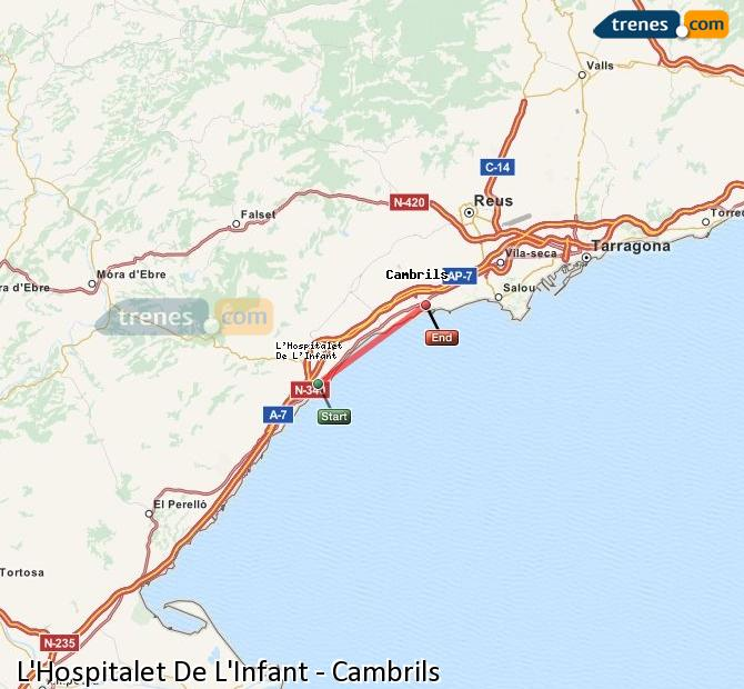 Ampliar mapa Trenes L'Hospitalet De L'Infant Cambrils