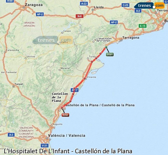 Ingrandisci la mappa Treni L'Hospitalet De L'Infant Castellón