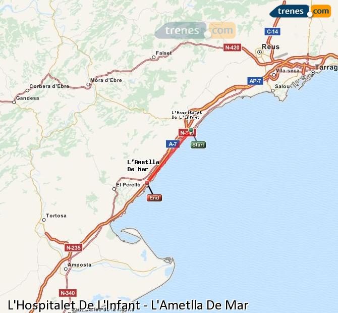 Enlarge map Trains L'Hospitalet De L'Infant to L'Ametlla De Mar