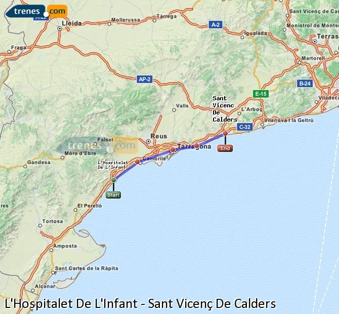Karte vergrößern Züge L'Hospitalet De L'Infant Sant Vicenç De Calders